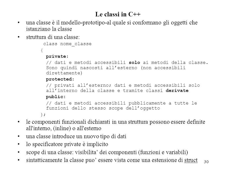 30 Le classi in C++ una classe è il modello-prototipo-al quale si conformano gli oggetti che istanziano la classe struttura di una classe: class nome_classe { private: // dati e metodi accessibili solo ai metodi della classe.