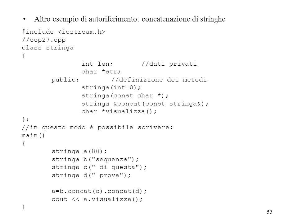 53 Altro esempio di autoriferimento: concatenazione di stringhe #include //oop27.cpp class stringa { int len; //dati privati char *str; public: //definizione dei metodi stringa(int=0); stringa(const char *); stringa &concat(const stringa&); char *visualizza(); }; //in questo modo è possibile scrivere: main() { stringa a(80); stringa b( sequenza ); stringa c( di questa ); stringa d( prova ); a=b.concat(c).concat(d); cout << a.visualizza(); }