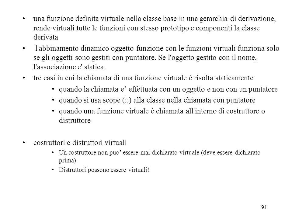 91 una funzione definita virtuale nella classe base in una gerarchia di derivazione, rende virtuali tutte le funzioni con stesso prototipo e componenti la classe derivata l abbinamento dinamico oggetto-funzione con le funzioni virtuali funziona solo se gli oggetti sono gestiti con puntatore.
