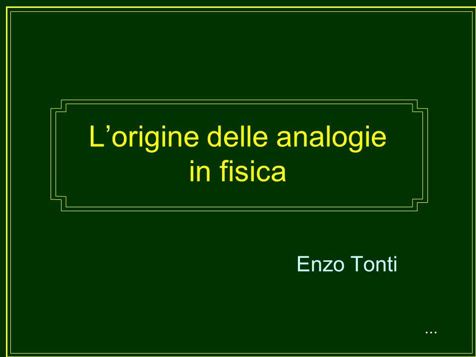 Lorigine delle analogie in fisica Enzo Tonti...
