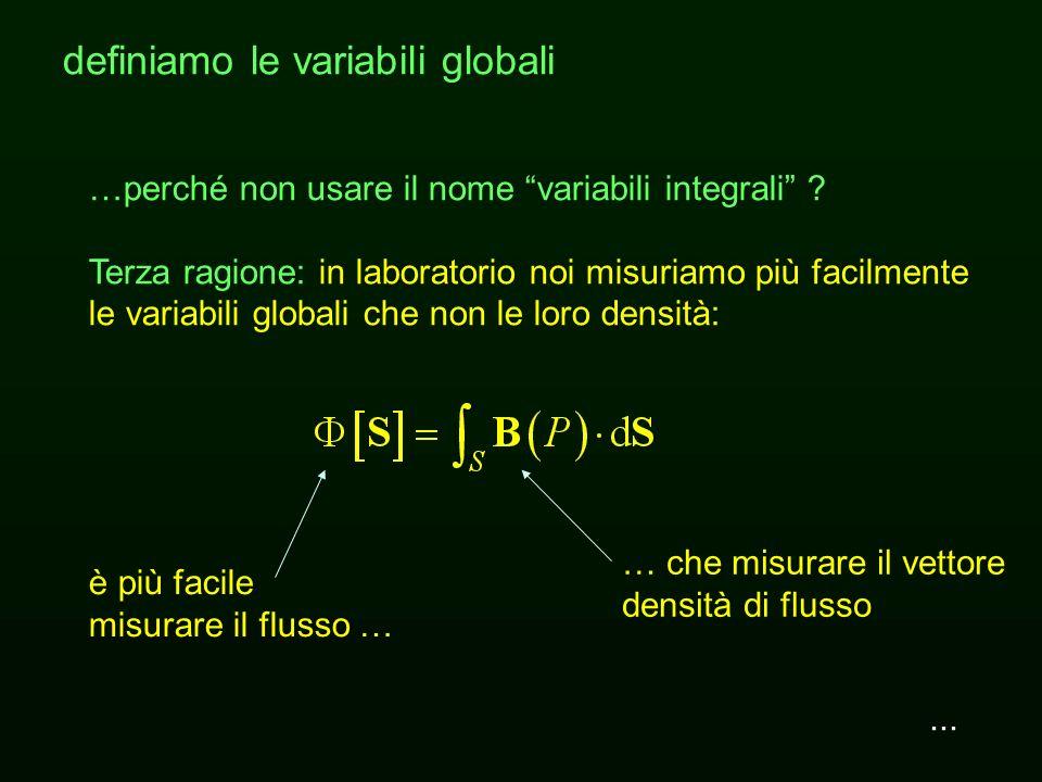 ... definiamo le variabili globali …perché non usare il nome variabili integrali ? Seconda ragione: concepire il flusso come ottenuto mediante un inte
