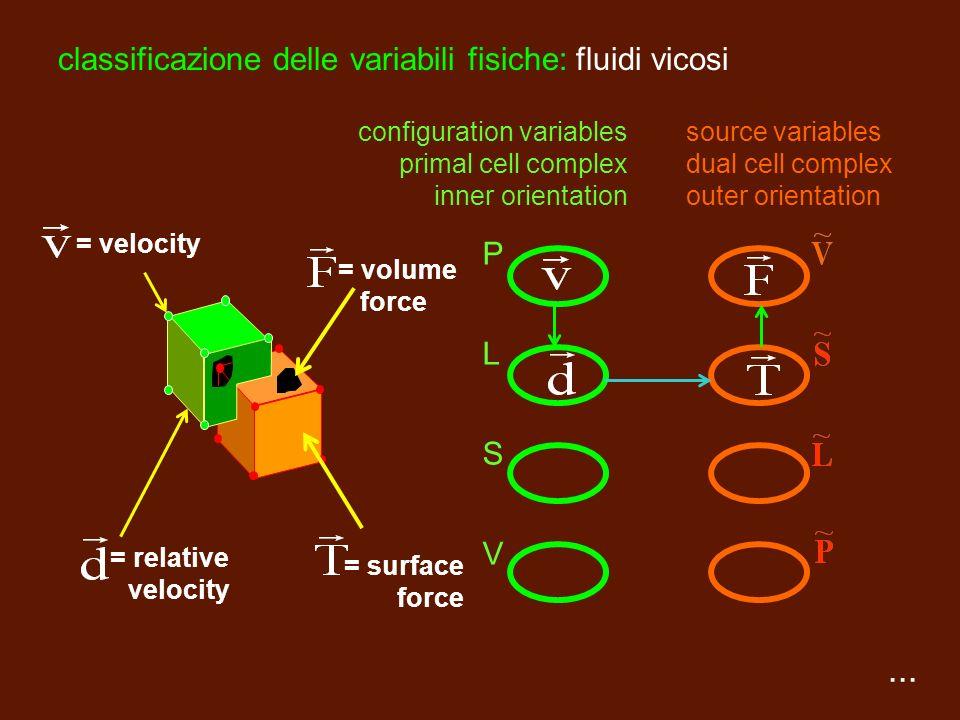 classificazione delle variabili fisiche: elasticità = displacement PLSVPLSV = surface force = volume force = relative displacement configuration varia