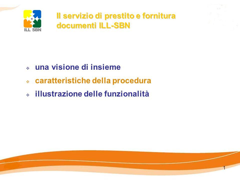 1 Il servizio di prestito e fornitura documenti ILL-SBN una visione di insieme caratteristiche della procedura illustrazione delle funzionalità