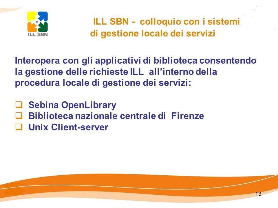 13 ILL SBN - colloquio con i sistemi di gestione locale dei servizi Interopera con gli applicativi di biblioteca consentendo la gestione delle richieste ILL allinterno della procedura locale di gestione dei servizi: Sebina OpenLibrary Biblioteca nazionale centrale di Firenze Unix Client-server