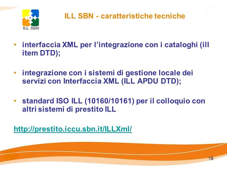 16 ILL SBN - caratteristiche tecniche interfaccia XML per lintegrazione con i cataloghi (ill item DTD); integrazione con i sistemi di gestione locale dei servizi con Interfaccia XML (ILL APDU DTD); standard ISO ILL (10160/10161) per il colloquio con altri sistemi di prestito ILL http://prestito.iccu.sbn.it/ILLXml/