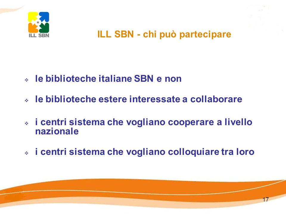 17 le biblioteche italiane SBN e non le biblioteche estere interessate a collaborare i centri sistema che vogliano cooperare a livello nazionale i centri sistema che vogliano colloquiare tra loro ILL SBN - chi può partecipare