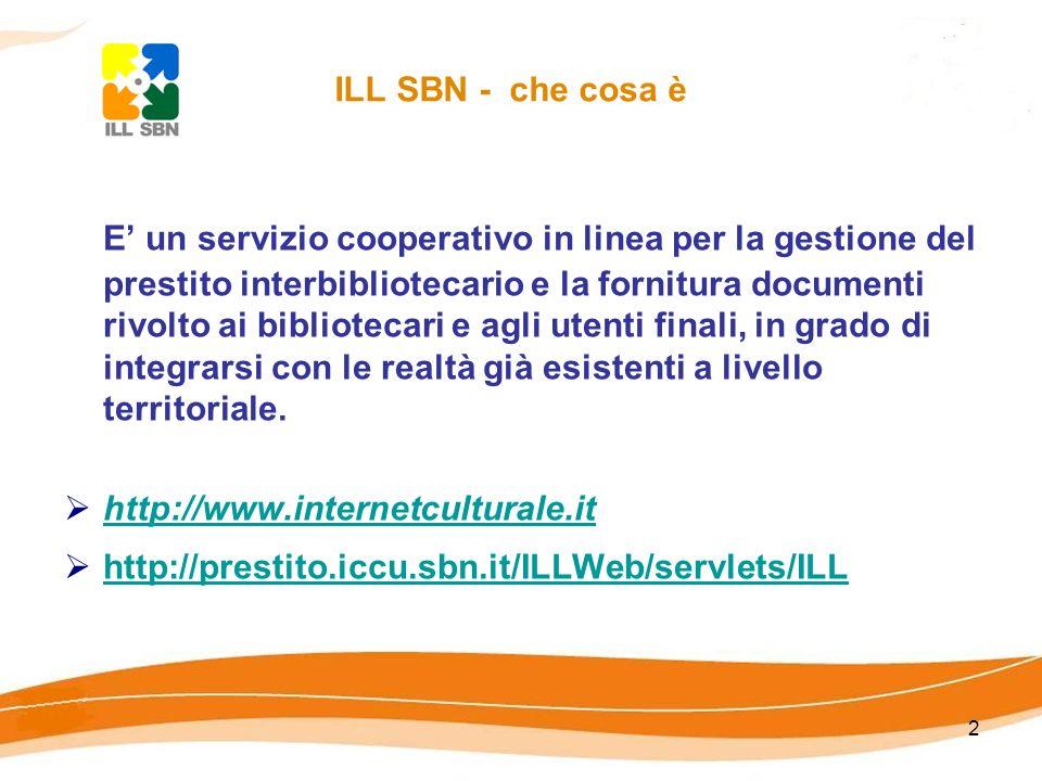 2 ILL SBN - che cosa è E un servizio cooperativo in linea per la gestione del prestito interbibliotecario e la fornitura documenti rivolto ai bibliotecari e agli utenti finali, in grado di integrarsi con le realtà già esistenti a livello territoriale.