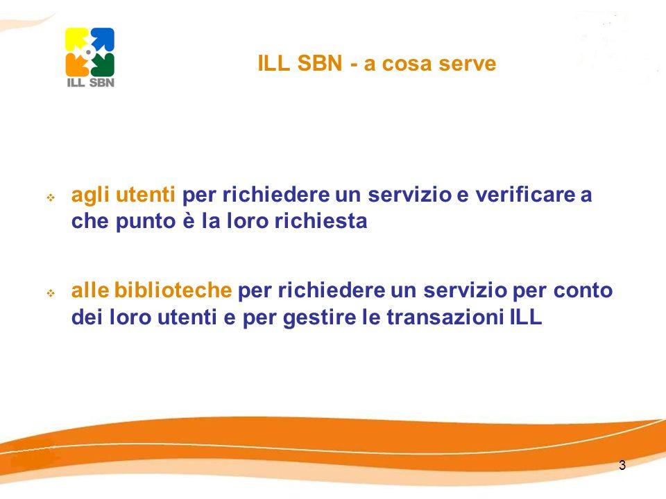3 ILL SBN - a cosa serve agli utenti per richiedere un servizio e verificare a che punto è la loro richiesta alle biblioteche per richiedere un servizio per conto dei loro utenti e per gestire le transazioni ILL