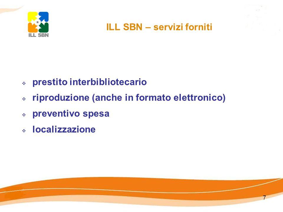 7 ILL SBN – servizi forniti prestito interbibliotecario riproduzione (anche in formato elettronico) preventivo spesa localizzazione