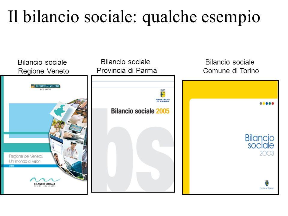 Il bilancio sociale: qualche esempio Bilancio sociale Regione Veneto Bilancio sociale Provincia di Parma Bilancio sociale Comune di Torino