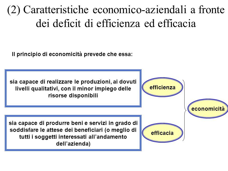 (2) Caratteristiche economico-aziendali a fronte dei deficit di efficienza ed efficacia efficacia Il principio di economicità prevede che essa: effici