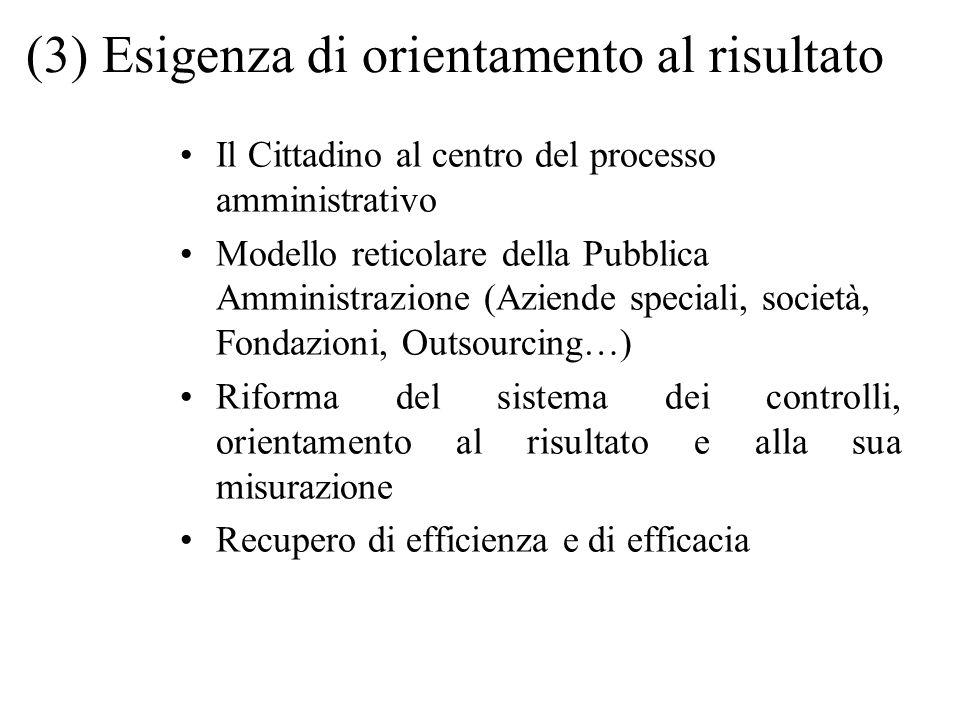 (3) Esigenza di orientamento al risultato Il Cittadino al centro del processo amministrativo Modello reticolare della Pubblica Amministrazione (Aziend