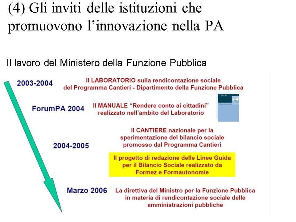 (4) Gli inviti delle istituzioni che promuovono linnovazione nella PA Il lavoro del Ministero della Funzione Pubblica