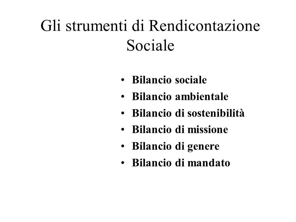 Gli strumenti di Rendicontazione Sociale Bilancio sociale Bilancio ambientale Bilancio di sostenibilità Bilancio di missione Bilancio di genere Bilanc