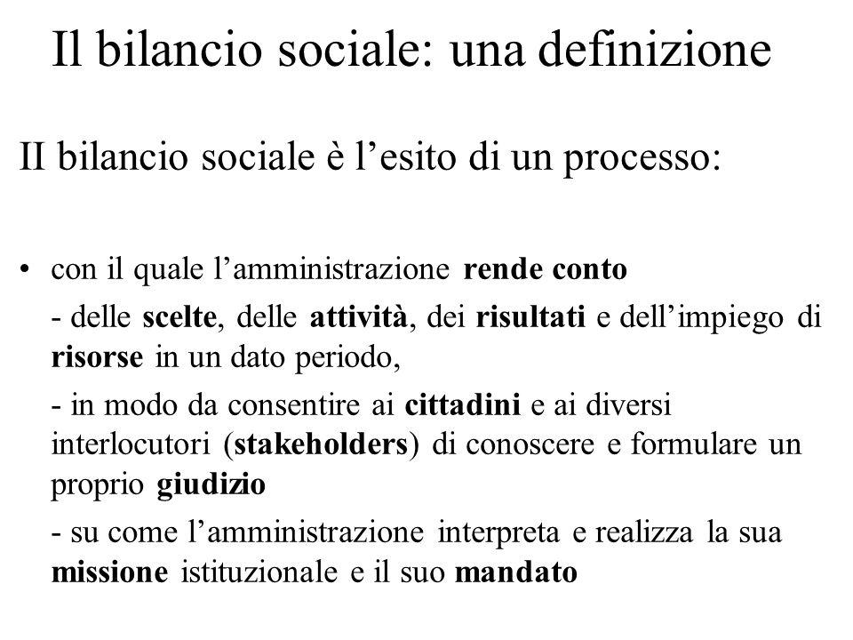 Il bilancio sociale: una definizione II bilancio sociale è lesito di un processo: con il quale lamministrazione rende conto - delle scelte, delle atti
