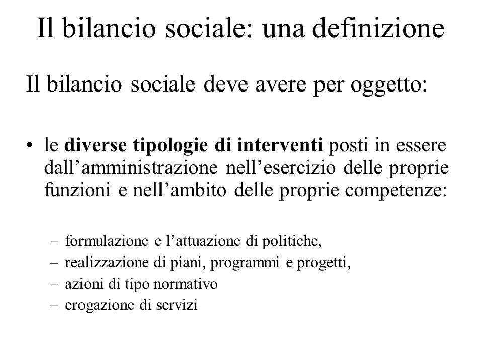 Il bilancio sociale: una definizione Il bilancio sociale deve avere per oggetto: le diverse tipologie di interventi posti in essere dallamministrazion