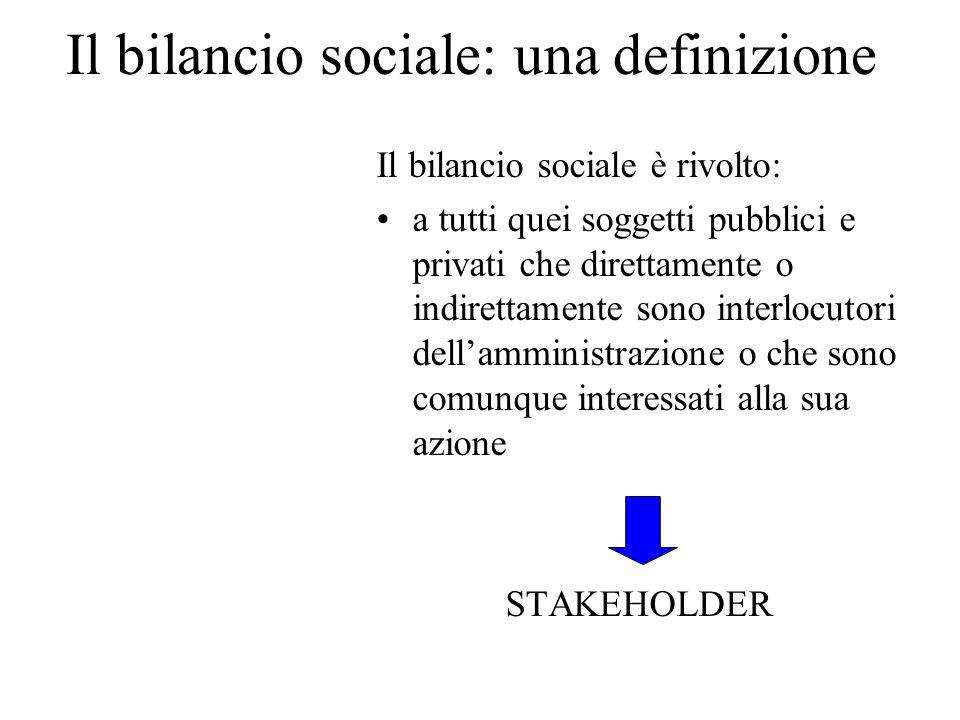 Il bilancio sociale: una definizione Il bilancio sociale è rivolto: a tutti quei soggetti pubblici e privati che direttamente o indirettamente sono in