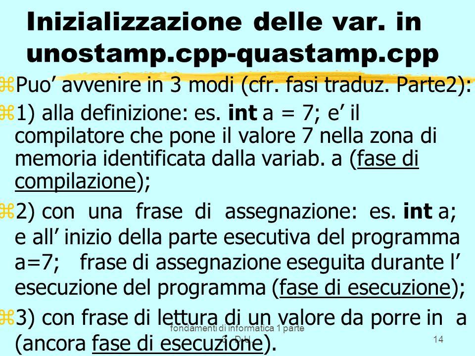 fondamenti di informatica 1 parte 3 D.U.14 Inizializzazione delle var.