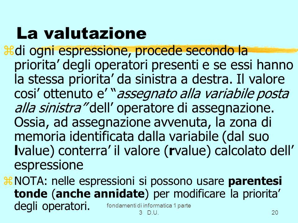 fondamenti di informatica 1 parte 3 D.U.20 La valutazione zdi ogni espressione, procede secondo la priorita degli operatori presenti e se essi hanno la stessa priorita da sinistra a destra.