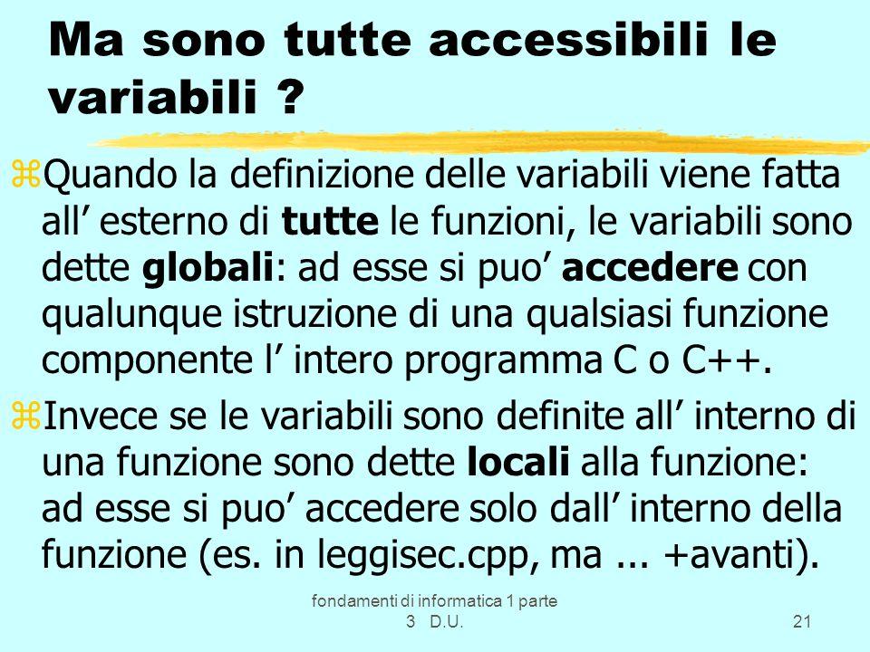 fondamenti di informatica 1 parte 3 D.U.21 Ma sono tutte accessibili le variabili .
