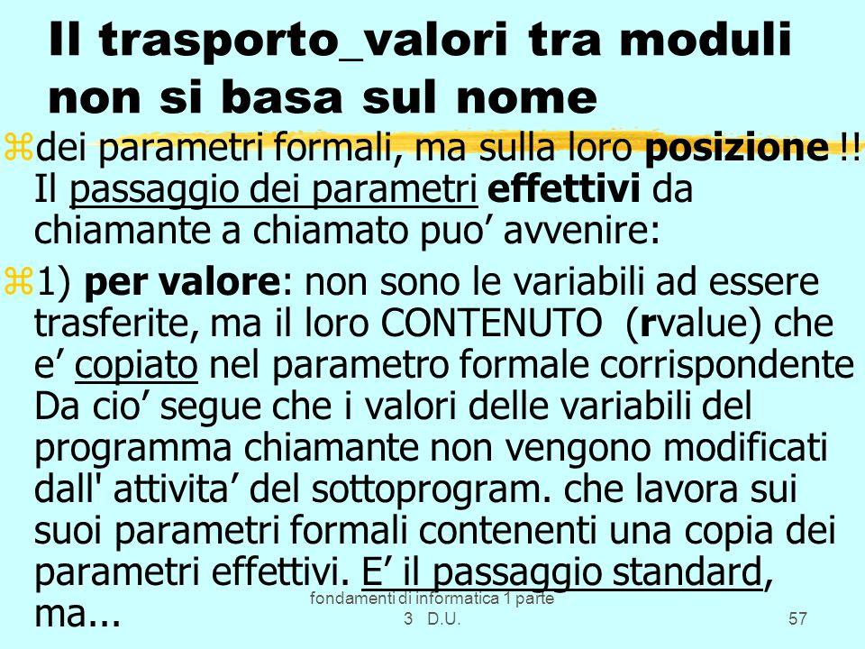 fondamenti di informatica 1 parte 3 D.U.57 Il trasporto_valori tra moduli non si basa sul nome zdei parametri formali, ma sulla loro posizione !.