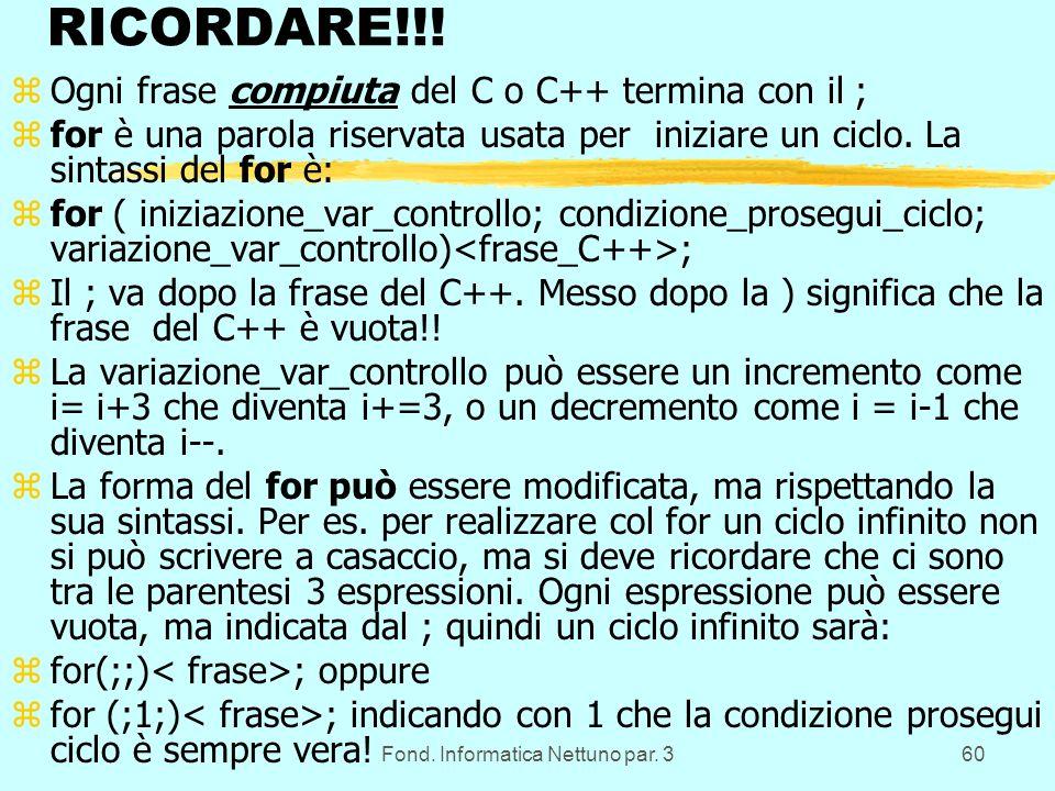 Fond. Informatica Nettuno par. 360 RICORDARE!!.
