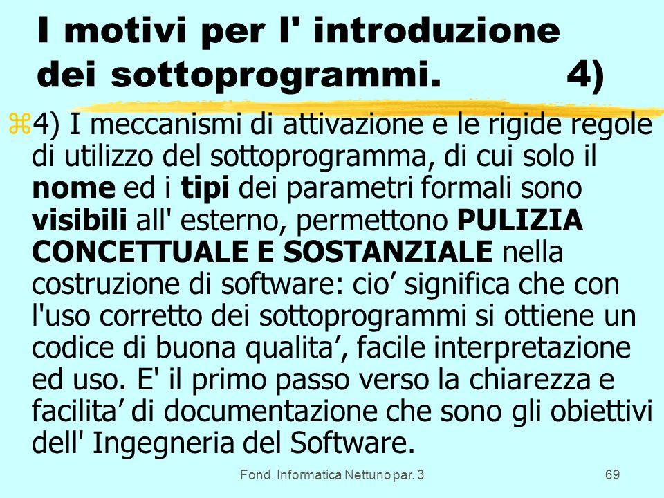 Fond. Informatica Nettuno par. 369 I motivi per l introduzione dei sottoprogrammi.