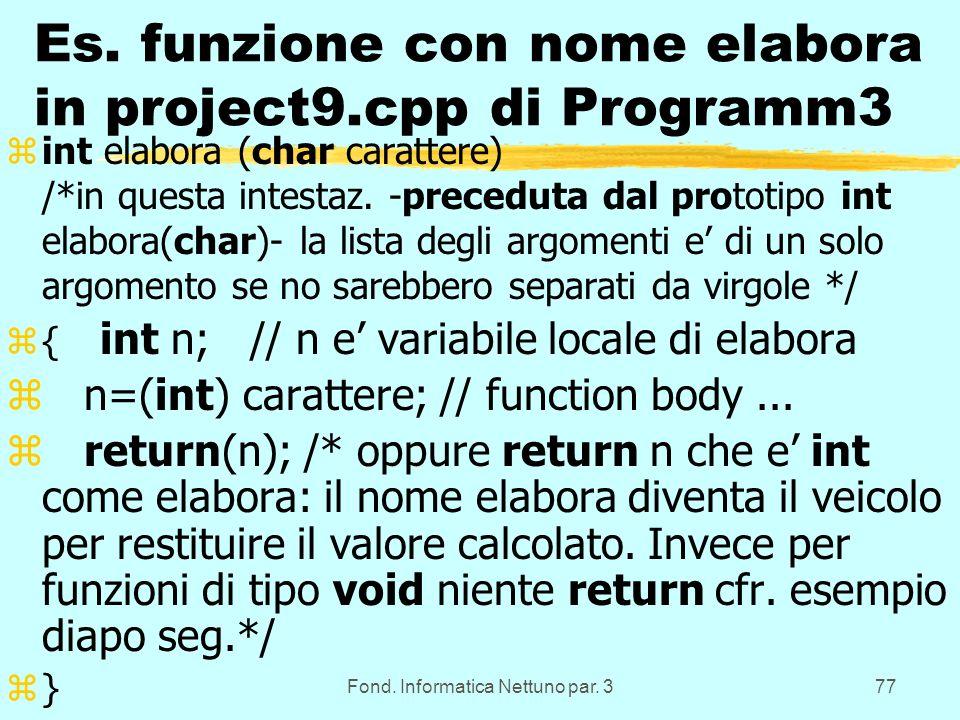 Fond. Informatica Nettuno par. 377 Es.