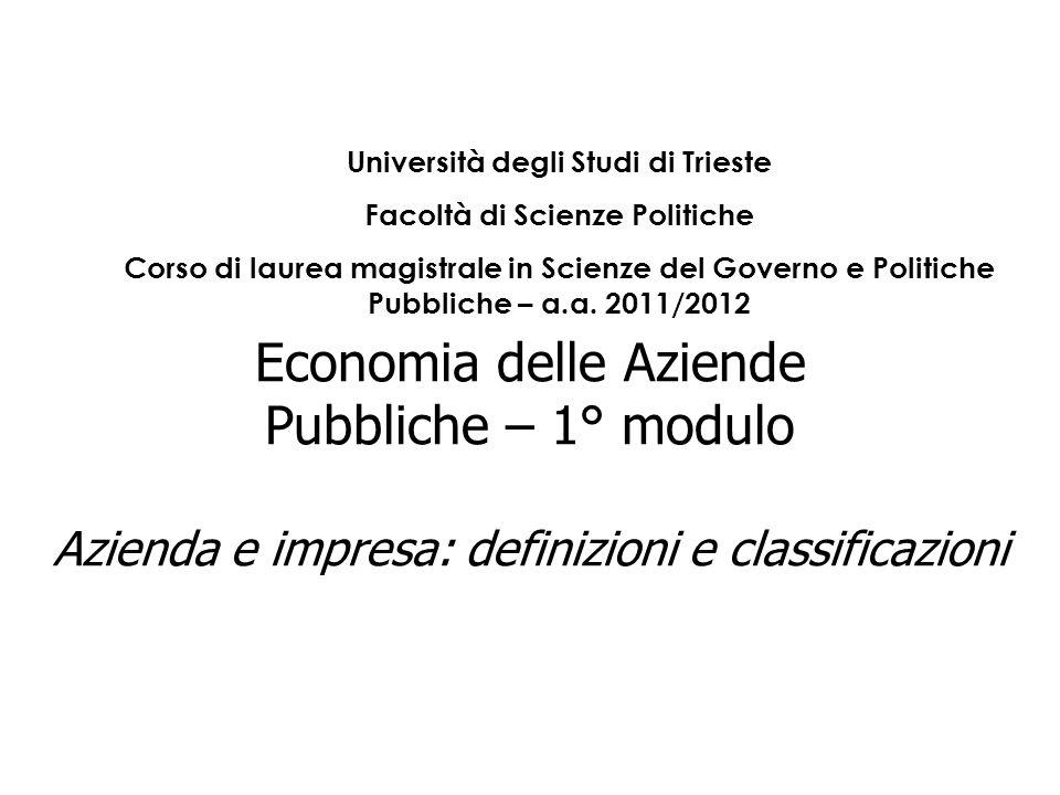 Economia delle Aziende Pubbliche – 1° modulo Azienda e impresa: definizioni e classificazioni Università degli Studi di Trieste Facoltà di Scienze Pol