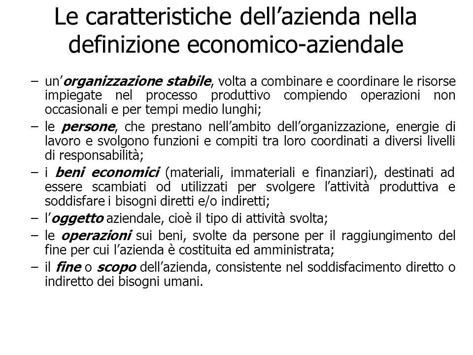 Le caratteristiche dellazienda nella definizione economico-aziendale –unorganizzazione stabile, volta a combinare e coordinare le risorse impiegate ne