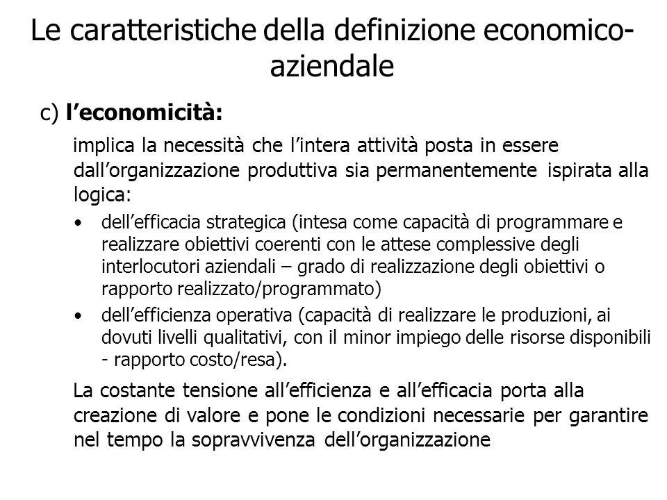 Le caratteristiche della definizione economico- aziendale c) leconomicità: implica la necessità che lintera attività posta in essere dallorganizzazion