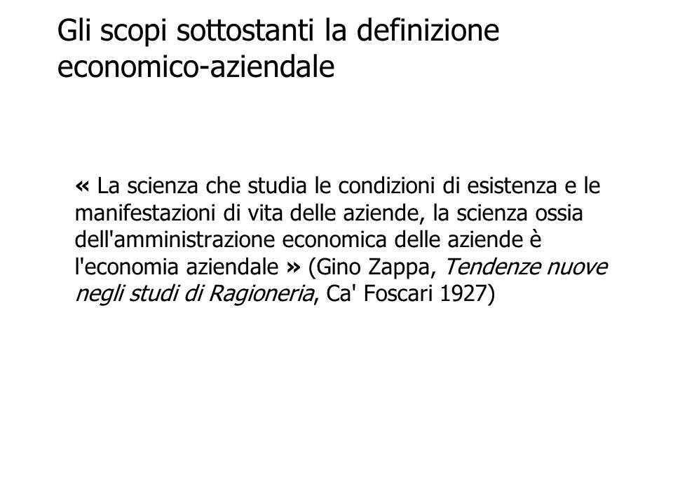 Gli scopi sottostanti la definizione economico-aziendale « La scienza che studia le condizioni di esistenza e le manifestazioni di vita delle aziende,