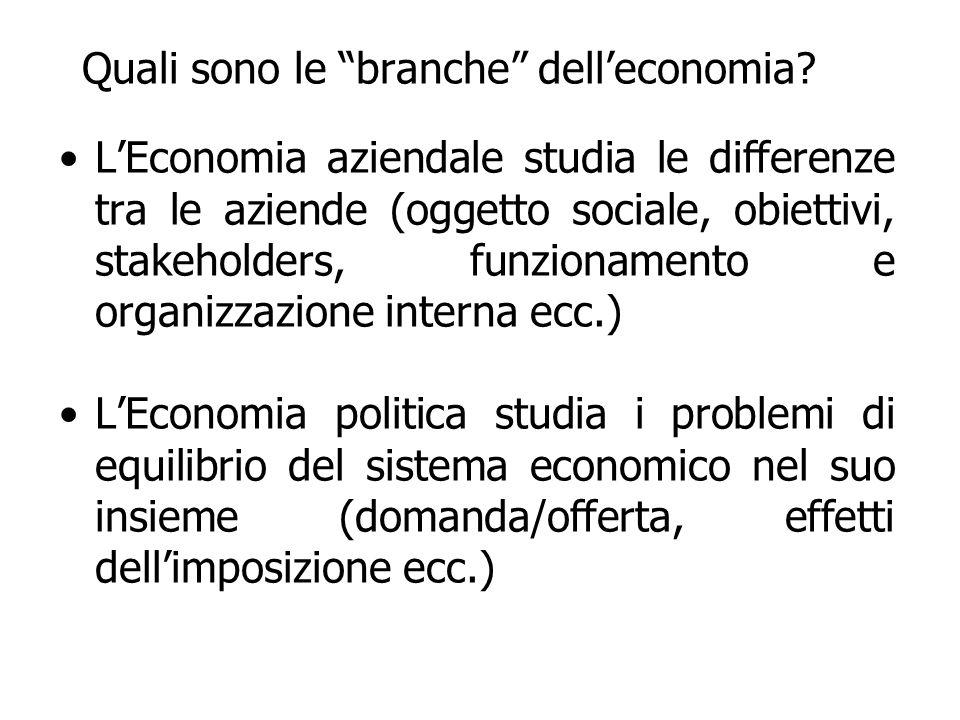 Quali sono le branche delleconomia? LEconomia aziendale studia le differenze tra le aziende (oggetto sociale, obiettivi, stakeholders, funzionamento e