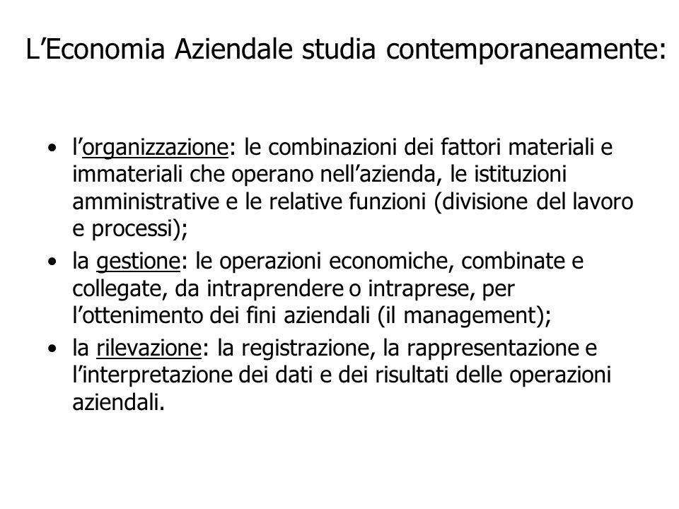 LEconomia Aziendale studia contemporaneamente: lorganizzazione: le combinazioni dei fattori materiali e immateriali che operano nellazienda, le istitu