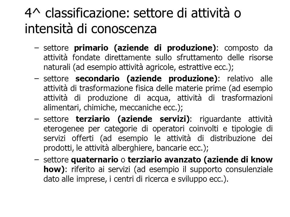 4^ classificazione: settore di attività o intensità di conoscenza –settore primario (aziende di produzione): composto da attività fondate direttamente