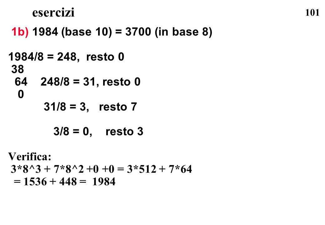 101 esercizi 1b) 1984 (base 10) = 3700 (in base 8) 1984/8 = 248, resto 0 38 64 248/8 = 31, resto 0 0 31/8 = 3, resto 7 3/8 = 0, resto 3 Verifica: 3*8^
