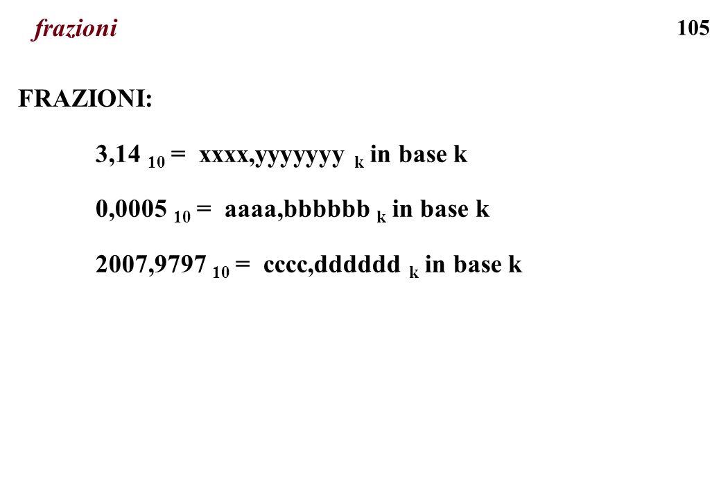 105 frazioni FRAZIONI: 3,14 10 = xxxx,yyyyyyy k in base k 0,0005 10 = aaaa,bbbbbb k in base k 2007,9797 10 = cccc,dddddd k in base k
