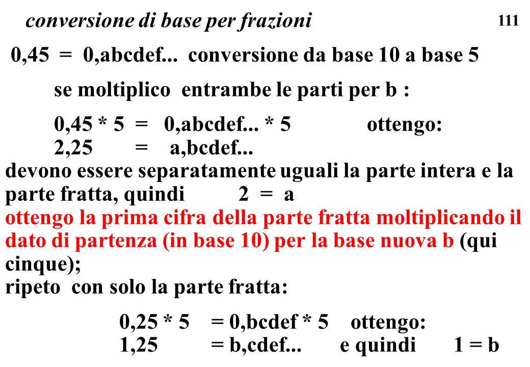 111 conversione di base per frazioni 0,45 = 0,abcdef... conversione da base 10 a base 5 se moltiplico entrambe le parti per b : 0,45 * 5 = 0,abcdef...