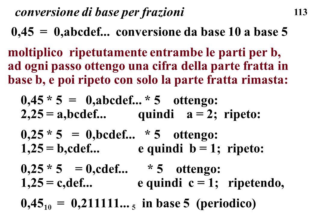 113 conversione di base per frazioni 0,45 = 0,abcdef... conversione da base 10 a base 5 moltiplico ripetutamente entrambe le parti per b, ad ogni pass