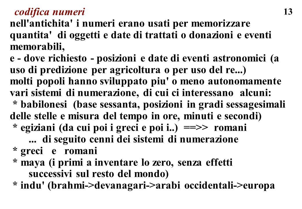 13 codifica numeri nell'antichita' i numeri erano usati per memorizzare quantita' di oggetti e date di trattati o donazioni e eventi memorabili, e - d