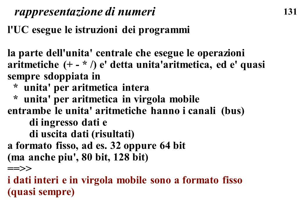 131 rappresentazione di numeri l'UC esegue le istruzioni dei programmi la parte dell'unita' centrale che esegue le operazioni aritmetiche (+ - * /) e'