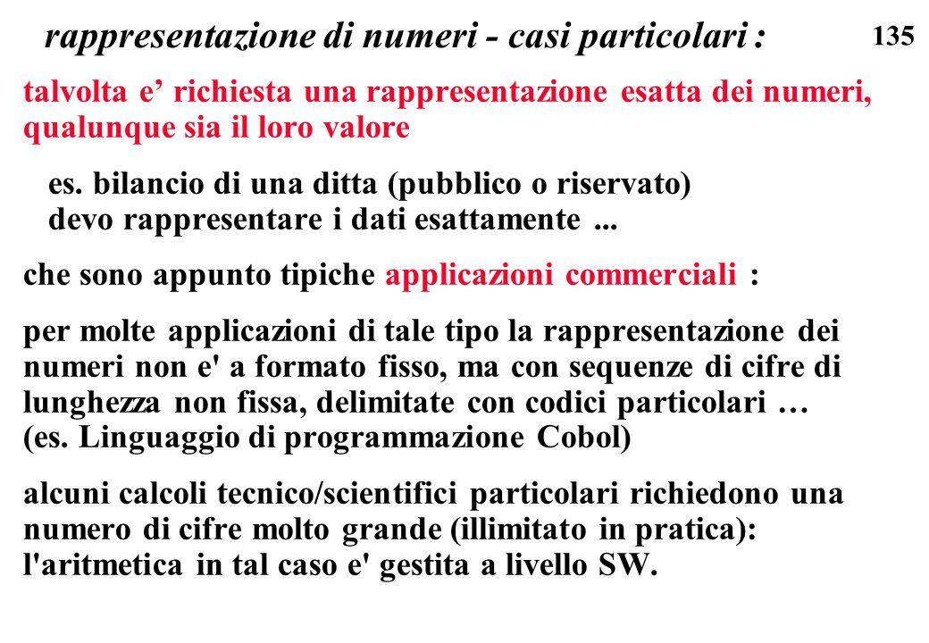 135 rappresentazione di numeri - casi particolari : talvolta e richiesta una rappresentazione esatta dei numeri, qualunque sia il loro valore es. bila
