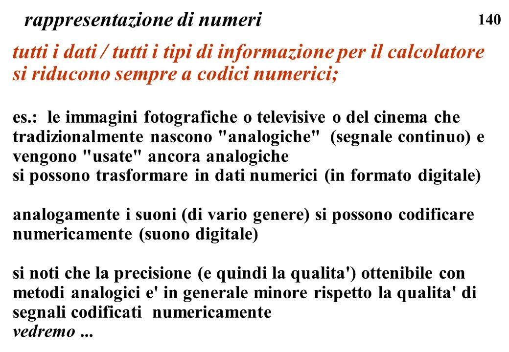 140 rappresentazione di numeri tutti i dati / tutti i tipi di informazione per il calcolatore si riducono sempre a codici numerici; es.: le immagini f