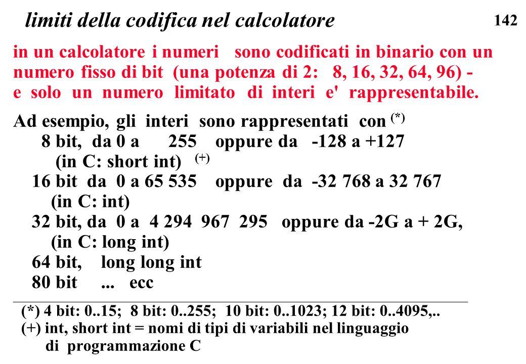 142 limiti della codifica nel calcolatore in un calcolatore i numeri sono codificati in binario con un numero fisso di bit (una potenza di 2: 8, 16, 3