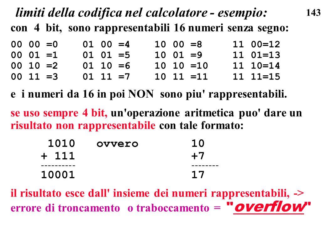 143 limiti della codifica nel calcolatore - esempio: con 4 bit, sono rappresentabili 16 numeri senza segno: 00 00 =0 01 00 =4 10 00 =8 11 00=12 00 01
