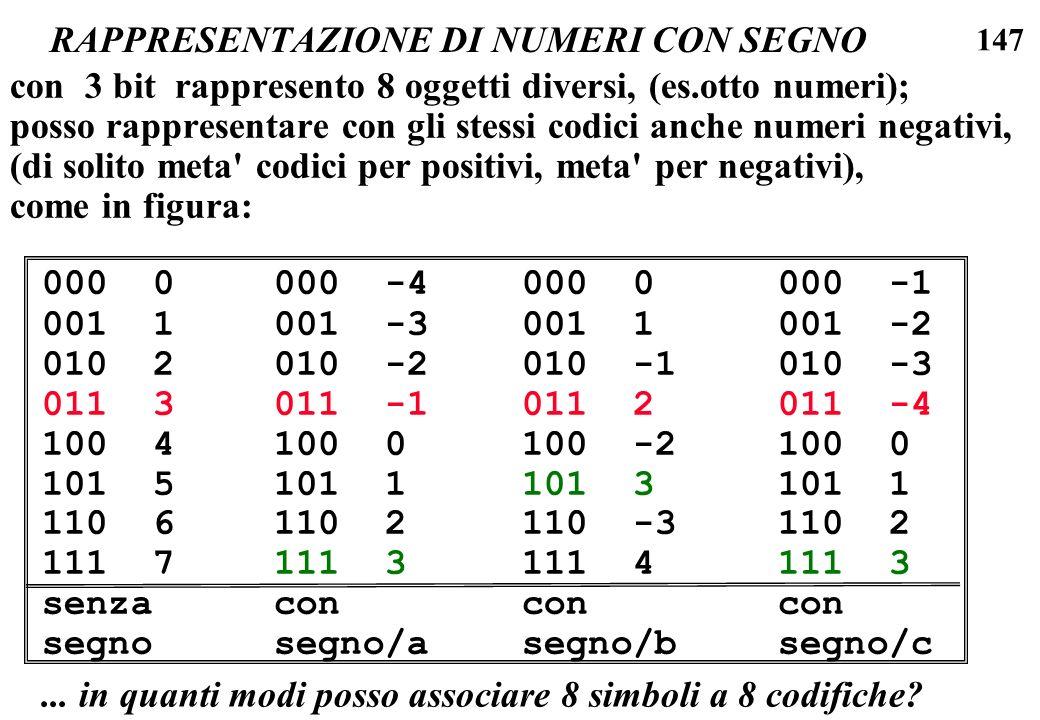 147 RAPPRESENTAZIONE DI NUMERI CON SEGNO con 3 bit rappresento 8 oggetti diversi, (es.otto numeri); posso rappresentare con gli stessi codici anche nu