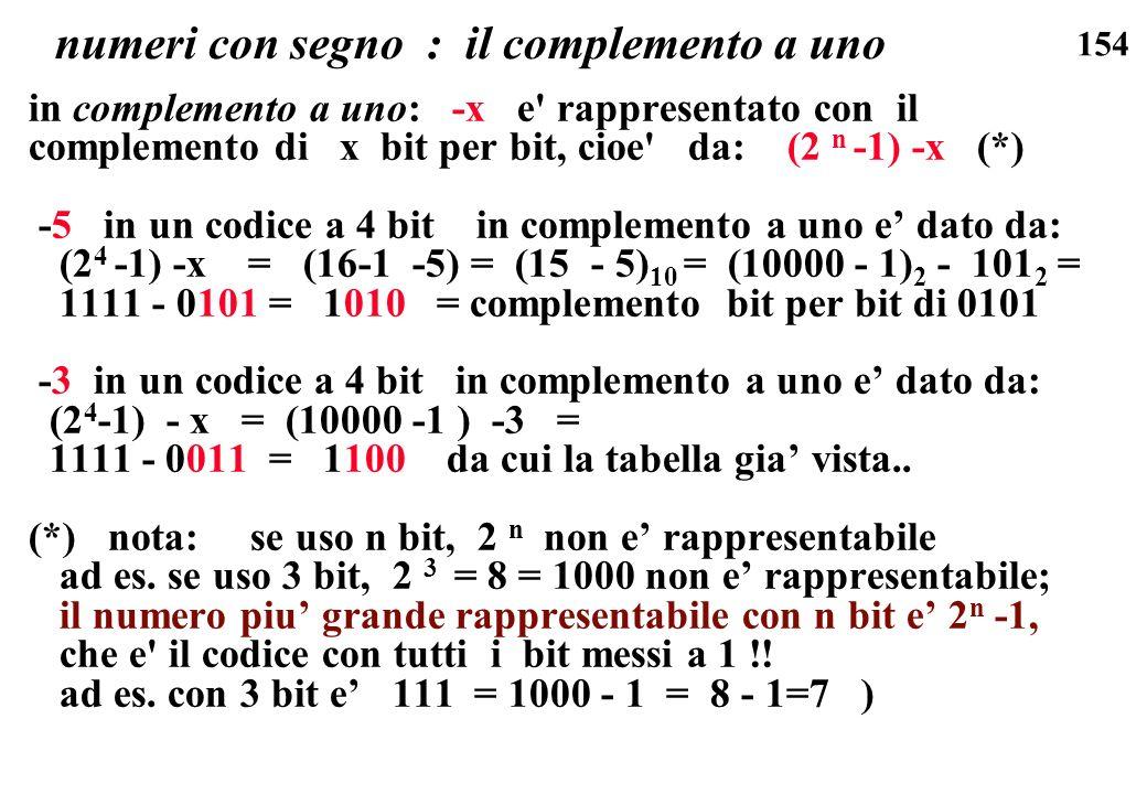 154 numeri con segno : il complemento a uno in complemento a uno: -x e' rappresentato con il complemento di x bit per bit, cioe' da: (2 n -1) -x (*) -