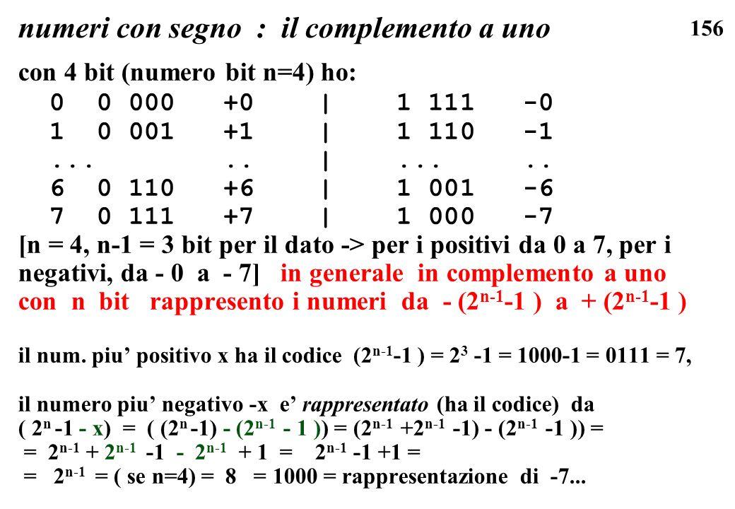 156 numeri con segno : il complemento a uno con 4 bit (numero bit n=4) ho: 0 0 000 +0 | 1 111 -0 1 0 001 +1 | 1 110 -1..... |..... 6 0 110 +6 | 1 001