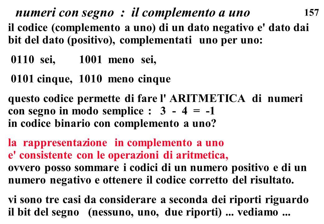 157 numeri con segno : il complemento a uno il codice (complemento a uno) di un dato negativo e' dato dai bit del dato (positivo), complementati uno p