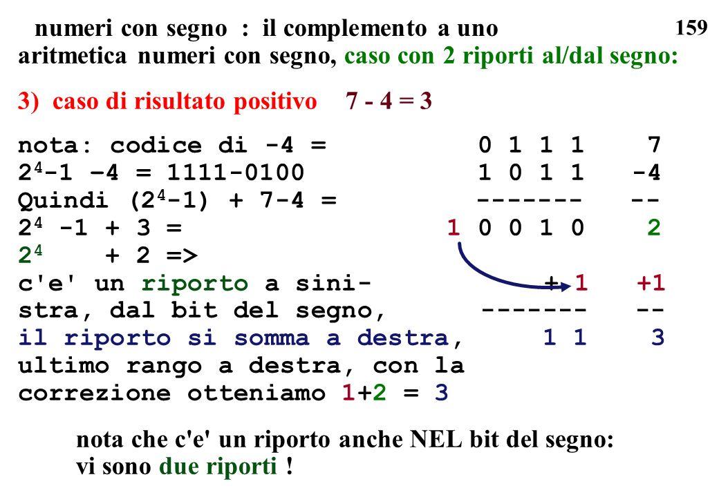 159 numeri con segno : il complemento a uno aritmetica numeri con segno, caso con 2 riporti al/dal segno: 3) caso di risultato positivo 7 - 4 = 3 nota